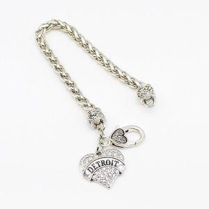 Inspired Silver Jewelry - Detroit sparkling heart bracelet